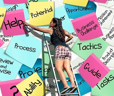 How to work online for yourself - Image 1 A Women putting up Sticky notes on a wall on a ladder