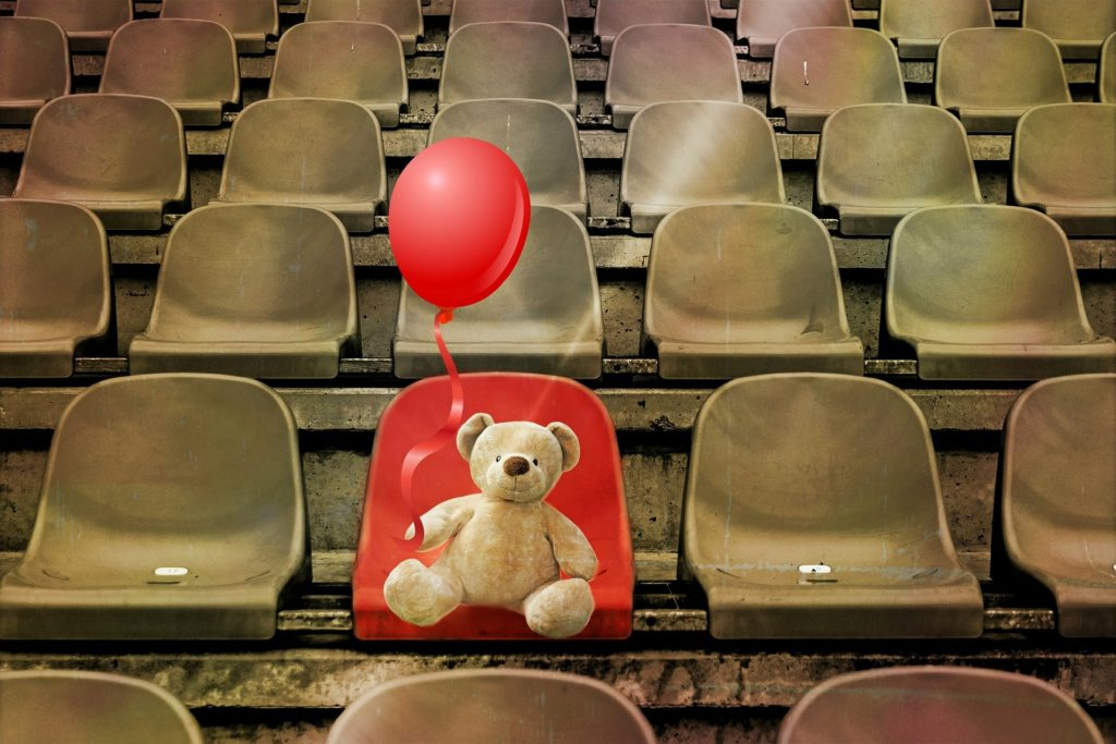 What Is A Niche Blog- image 3 A teddy bear with a balloon on a stadium seat.